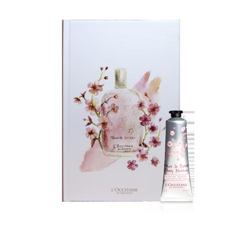 Composição Especial Creme de mãos Flor de Cerejeira 30ml e Caderno Flor de Cerejeira