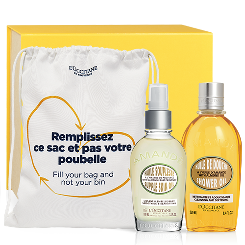 Almond body care kit with shopping bag
