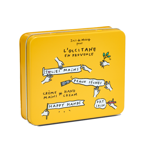 Metal box under the trio of hand creams (yellow)