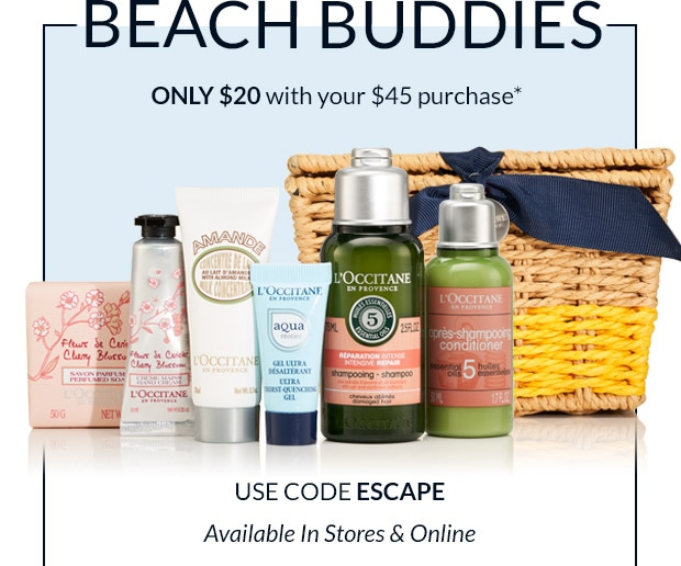 Beach Buddies. Only $20 with your $45 purchase* USE CODE ESCAPE. SHOP NOW.