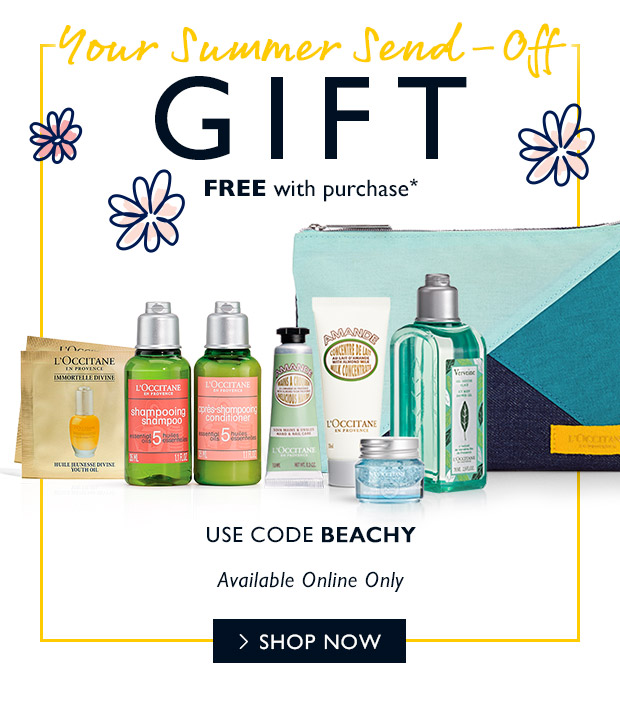 FREE gift with purchase* USE CODE BEACHY. SHOP NOW.