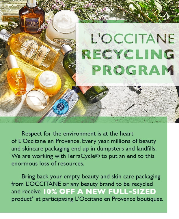 recycle in partnership with l'occitane and terracycle