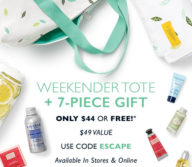 Weekender Tote + 7-Piece Gift Only $44 or FREE* USE CODE ESCAPE. SHOP NOW.