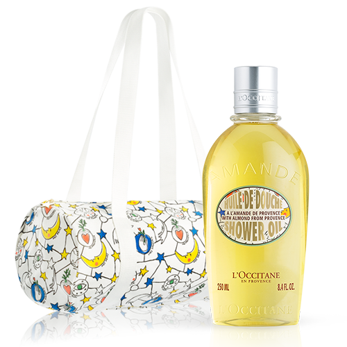 Travel set with bag and Almond Shower Gel