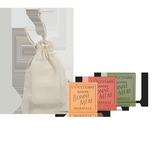 Bonne Mére soap trio in bag