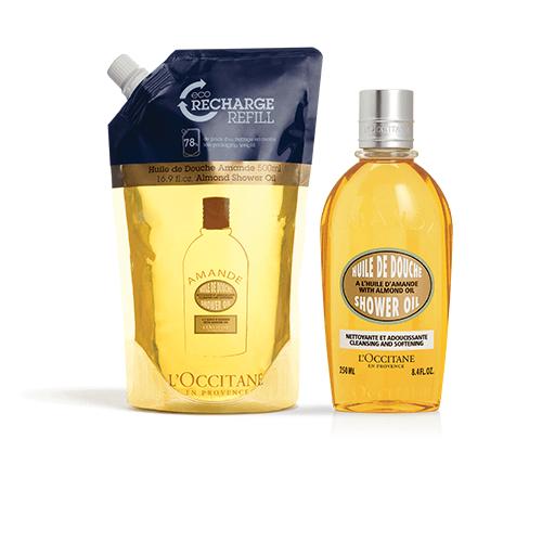 Almond Shower Oil Eco-Refill Duo