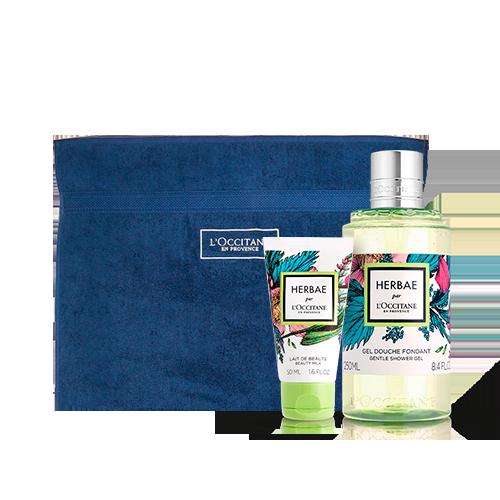 Duo Banho e Corpo Herbae Par L'Occitane com toalha