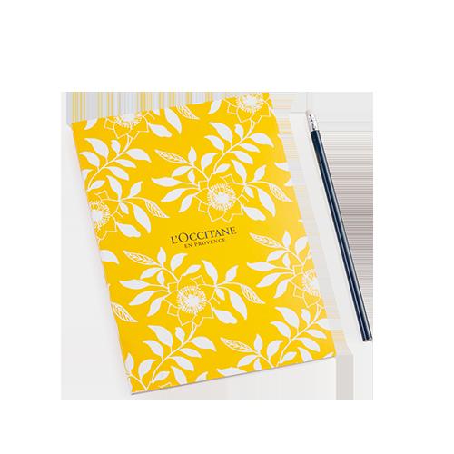 Caderno Amarelo Folhas + Lápis