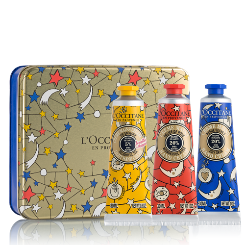 Shea Butter hand creams set in metal box