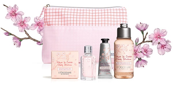 Details about NEW L'occitane Cherry Blossom Set Hand Cream Shower Gel Body Lotion Soap EDT