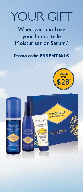 your gift- when you purchase your immortelle moisturiser or serum (worth over $28)