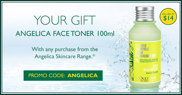 your gift- angelica face toner 100ml when you pruchase a full sized product from the angelica range