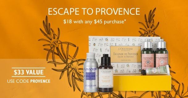 Escape to Provence. $18 with any $45 purchase*.$33 Value.Use code PROVENCE