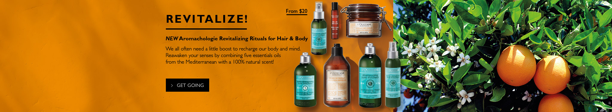 Revitalize! From $20.NEW Aromachologie Revitalizing Rituals for Hair & Body. We all often need a little boost to recharge our body and mind.Reawaken your senses by combining five essentials oils from the Mediterranean with a 100% natural scent !