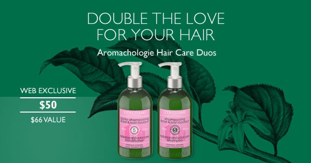Double the love for your hair. Aromachologie Hair Care duos.Web Exclusive. $50. $66 Value