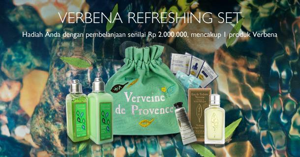 Verbena Refreshing Set. Hadiah Anda dengan pembelanjaan senilai Rp 2.000.000, mencakup 1 produk Verbena