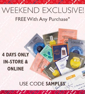 Weekend Exclusive!  Free with any purchase.  use code SAMPLES