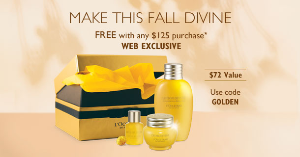 Make this Fall Divine.Free with any $125 purchase*. WEB EXCLUSIVE. $72 Value. USe code GOLDEN.