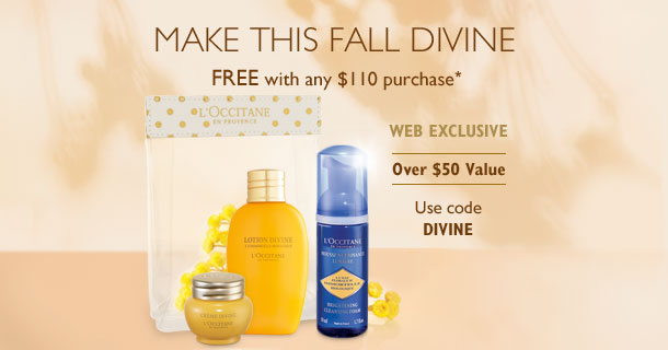 Make this Fall Divine.Free with any $110 purchase*. WEB EXCLUSIVE. Use code DIVINE