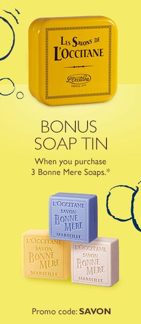 buy 3 bonne mere soaps to receive a bonus bonne mere tin