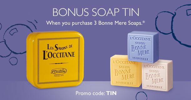 bonus tin- yours when you purchase 3 bonne mere soaps