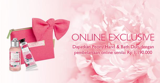 Online Exclusive. Dapatkan Peony Hand & Bath Duo setelah pembelanjaan senilai Rp 1.190.000 secara online
