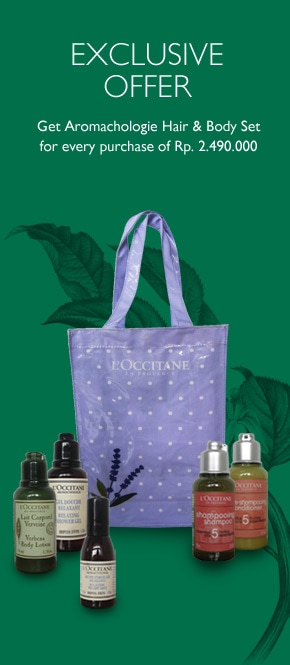 Get Aromachologie Hair & Body Care Set for every purchase of Rp 2.490.000