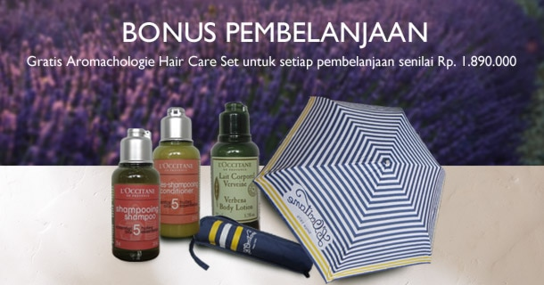 Gratis Aromachologie Hair Care Set untuk setiap pembelanjaan senilai Rp 1.890.000