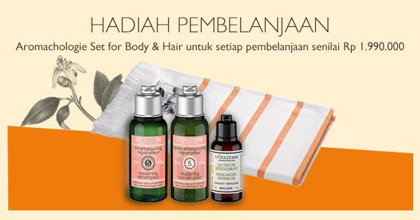 Dapatkan Aromachologie Set for Body & Hair untuk setiap pembelanjaan senilai Rp 1.990.000