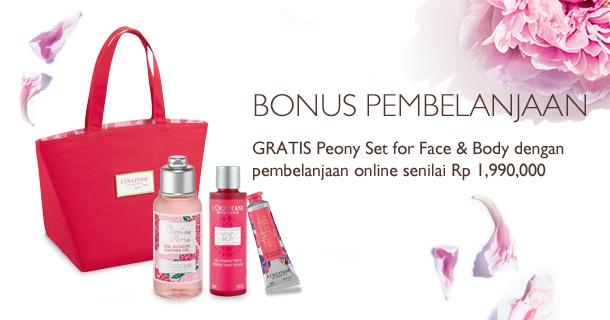 Gratis Peony Set for Face & Body dengan pembelanjaan online senilai Rp 1,990,000