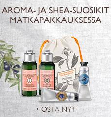 Aroma- ja Shea-suosikit matkapakkauksessa