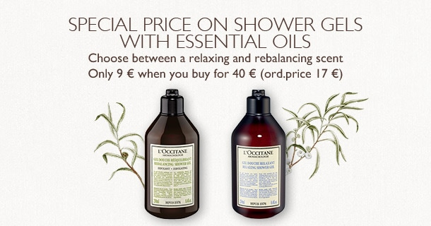 Special price on shower gels with essential oils