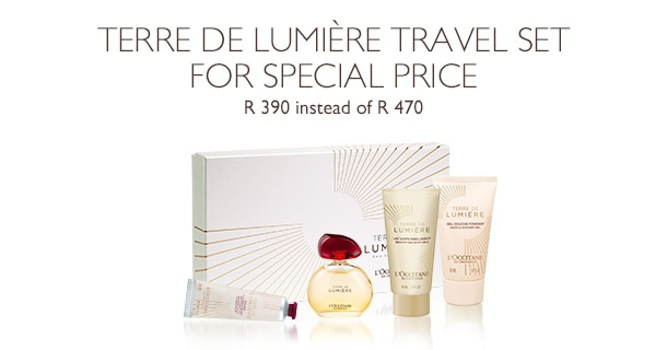 Terre de Lumiére travel set for special price