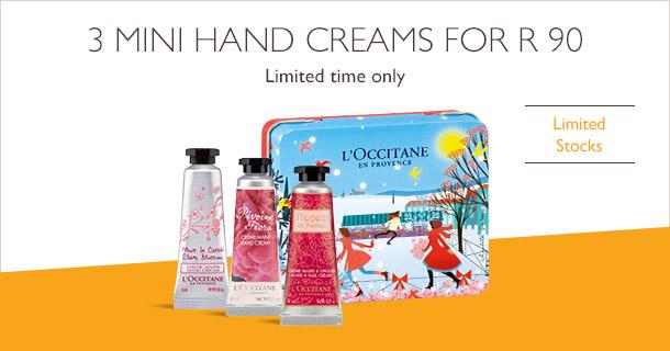 3 mini hand creams