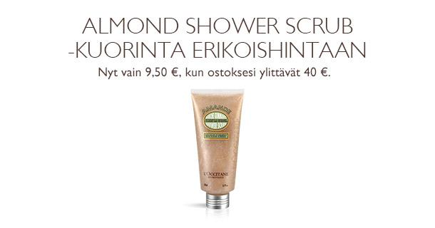 Almond Shower Scrub -kuorinta erikoishintaan