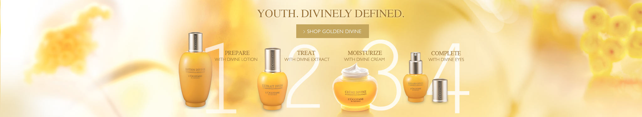 Youth. Divinely Defined.  Prepare with divine lotion, treat with divine extract, moisturize with divine cream, complete with divine eyes.