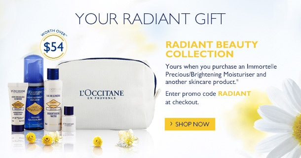 your radiant gift- when you purchase an immortelle moisturiser and another skincare product