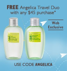 Angelica Travel Duo with any $45 purchase.  Web Exclusive.   Use code Angelica