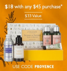 $18 with any $45 purchase. Use code PROVENCE