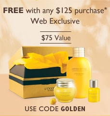 Free with any $125 purchase*. Web Exclusive.$75 Value.Use Code GOLDEN.