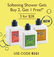 Softening Shower Gels.Buy 2, Get 1 Free!*.$42 Value.Use code B2G1