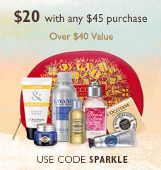 $20 with any $45 purchase!  Over $40 value. Use code SPARKLE