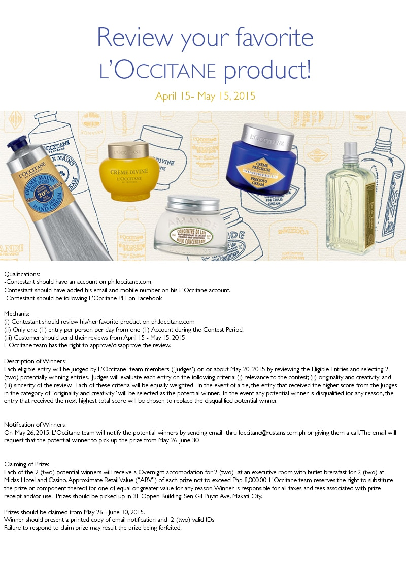 Review your favorite L'Occitane product!