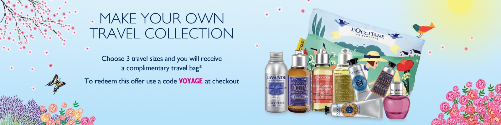 Your Gift Complimentary Travel Bag when you purchase 3 Travel Sizes