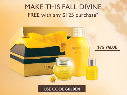 Make this Fall Divine.FREE with any $125 purchase*.$75 Value.Use code GOLDEN.