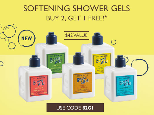 Softening Shower gels. Buy 2, Get 1 Free ! $42 Value. Use code B2G1.