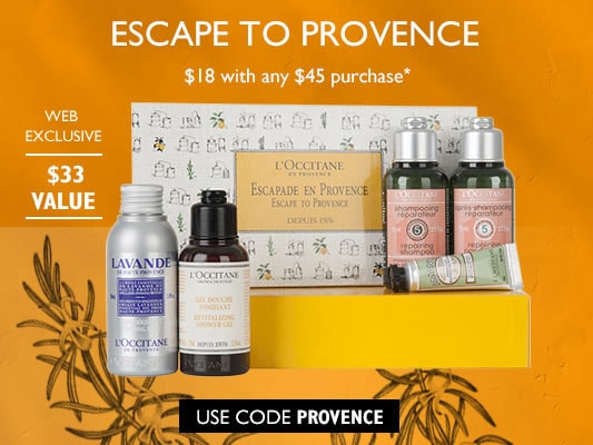 Escape to Provence.$18 with any $45 purchase*.$33 Value.Use code PROVENCE.