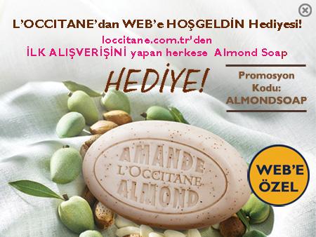 L'OCCITANE'dan WEB'e HOŞGELDİN Hediyesi! loccitane.com'tr'den İLK ALIŞVERİŞİNİ yapan herkese  Almond Soap HEDİYE!
