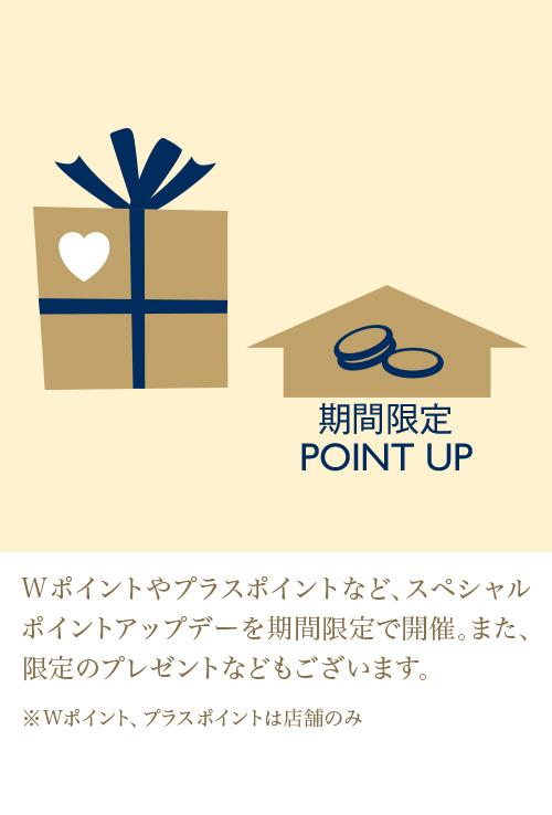 Wポイントやプラスポイントなど、スペシャルポイントアップデーを期間限定で開催。また限定のプレゼントなどもございます。