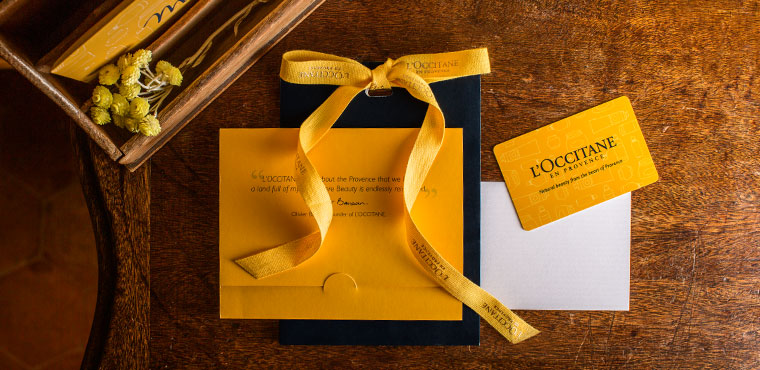 L'Occitane's gift cards and e-cards